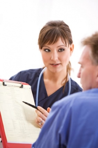 Pre-Admission Clinic Nurse discussing Medical History